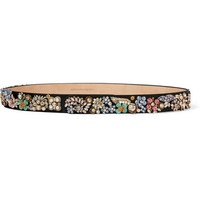 Alexander McQueen - Embellished satin and leather belt