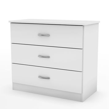 White Modern Bedroom Chest Dresser With 3 Drawers