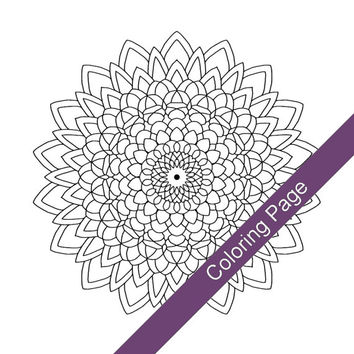 Mandala Adult Coloring Page - PDF Digital Download Printable Drawing - Abstract Floral Art 'Sunflower' - Number 2