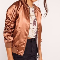 Missguided - Premium Zip Detail Satin Bomber Jacket Clay