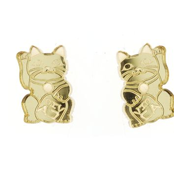 Maneki Neko Cat Studs in Mirror Gold