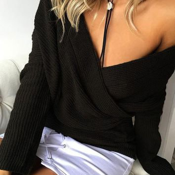 New Black Ruffle V-neck Long Sleeve Casual Pullover Sweater