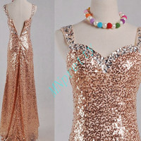 Unique Pink Gold Prom Dresses,Stunning Sequined Beaded Prom Dresses,Formal Party Grown 2015