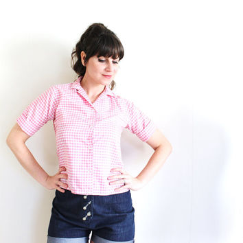 1950s Blouse / 50s Pink Gingham Blouse