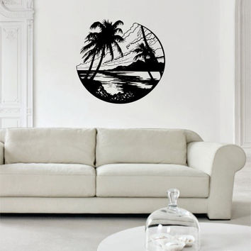 Beach Scene Ocean Palm Trees Design Decor Nature Decal Sticker Wall Vinyl Art