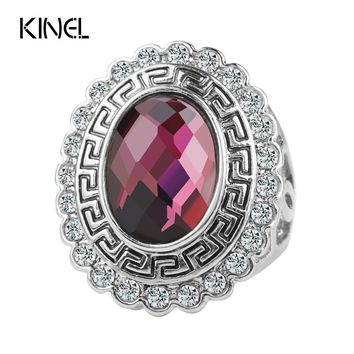 2016 Fashion Accessories Purple Glass Rings For Women Vintage Jewelry Silver Color Mosaic White Crystal Gifts