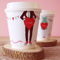 diy valentine's day coffee cup wrappers | going home to roost