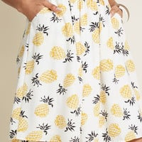 Casual Creativity Pocketed Skirt in Pineapples