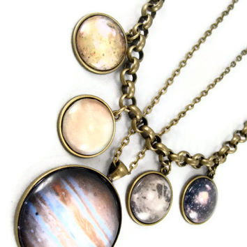 The Carolyn - Galilean Moon and Jupiter Planet Necklaces Solar System Science Jewelry