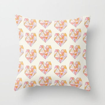 Decorative pillow cover with pretty pastel hearts- beige-geometric pattern- modern design- Valentine's Day gifts for her