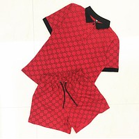GUCCI Fashion New More Letter Print Top And Shorts Sports Leisure Two Piece Suit Red