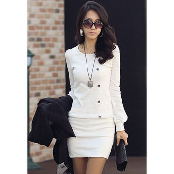 White Long Sleeve Bodycon Dress with Buttons