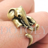 Miniature Elephant Animal Wrap Around Ring in Bronze - Size 5 to 10