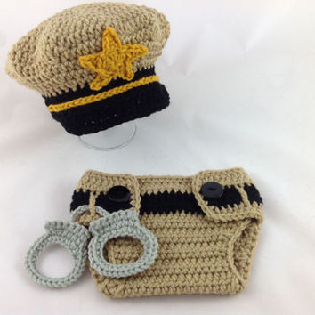 Baby Sheriff Outfit - Crochet Sheriff Costume - Baby Police Uniform - Newborn Police Outfit - Infant Police Outfit - Baby Police Gift
