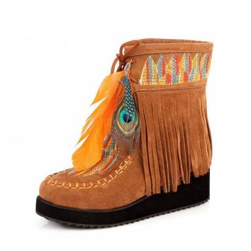 Retro Fringe Feather Moccasin Look Ankle Boots