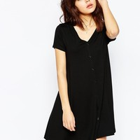 ASOS | ASOS Button Through Swing Dress With Short Sleeves at ASOS