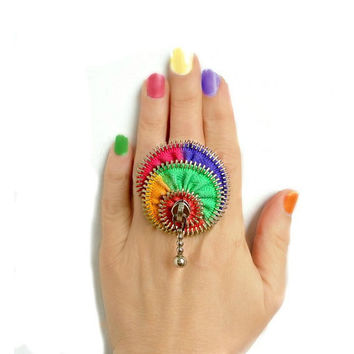 Colorful ring, hand painted, zipper ring, rainbow jewelry, ring silver plated- adjustable, eco friendly, recycled jewelry,
