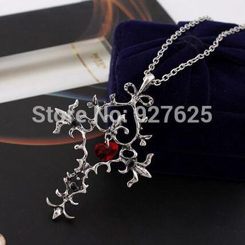 Free Shipping Sacred Heart Cross Necklace Antique silver plated for women Vampire Diaries #3070