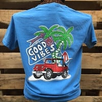 Southern Chics Comfort Colors Good Vibes Jeep Beach Girlie Bright T Shirt