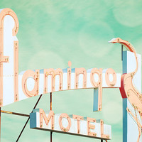 Vintage sign, guest room, pink flamingo, kitsch decor, mid century, dusty rose, blue green, bird, neon, motel, doo wop