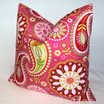 16x16 Pink and Green Paisley Decorative Pillow Cover