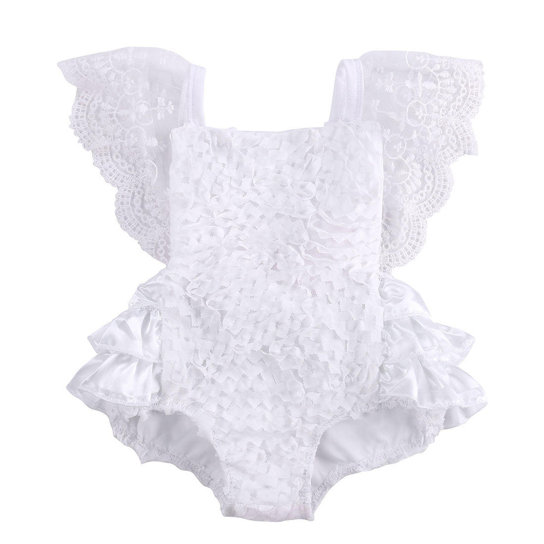 be15a1794 Tirred Cotton Bow Cute White Rompers from Honeybee Line