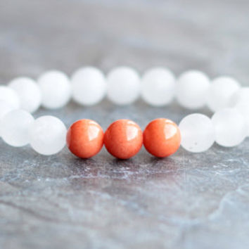 bracelet women beaded bracelet white bracelet orange jade jewelry gift for her friend cute bracelet girlfriend for wife elastic bracelet