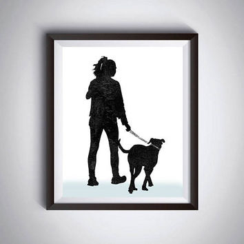 Printable art Dog wall decor Woman with dog Glitter dog collar Dog walk Large poster Modern minimalist Gift under 10 Anniversary card