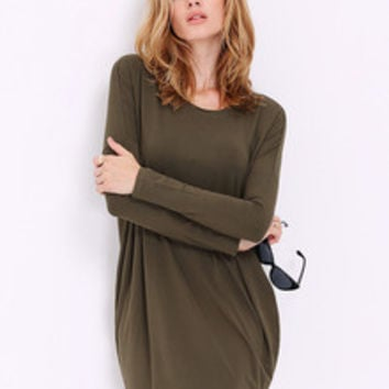 Fall Fashion Green Long Sleeve Casual Dress