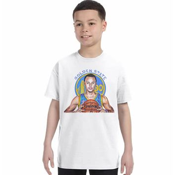 Casual Character Print Children T shirt boys 2017 Stephen Curry boys Cotton T-shirt White Short Sleeve kids Tops Hipster Tees