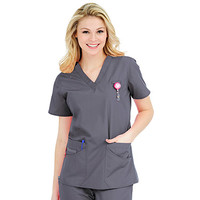Life Is Peachy by Peaches Women's Daisy V-Neck Solid Scrub Top