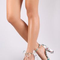 Floral Pointy Toe Ankle-Tie Chunky Heeled Pump