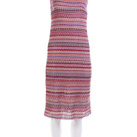 "90's Vintage Dress Pink Rainbow Striped Crochet Knit Midi Bodycon Women's Size Small / 1990's Club Clothing Made in the USA "" Bust"