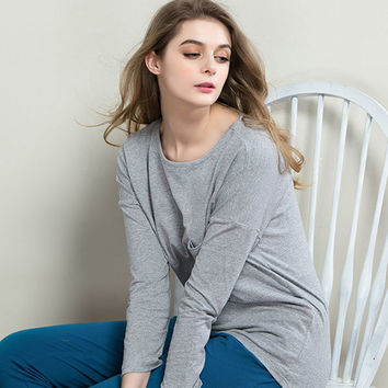 Casual Round Neck Long Sleeve Sleepwear Sets Cotton Pajamas For Women
