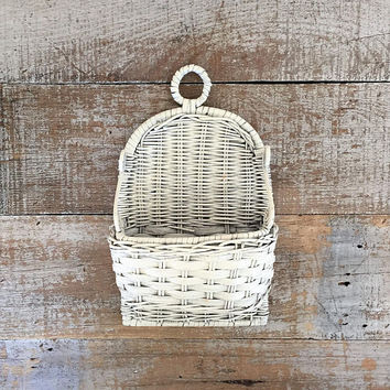Wicker Mail Holder Letter Mid Century Organiz