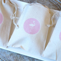 Pink Flamingo - 10 x Muslin Bags - 4 x 6 inches - wedding, engagement, party