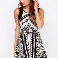 Matter of Prints-cipal Black and Ivory Print Sweater Dress