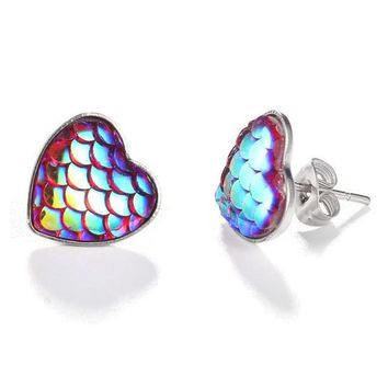 Mermaid Druzy Heart Stud Earrings
