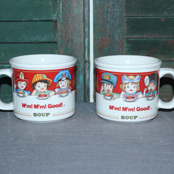 "Matching ""M'm M'm Good!"" Campbell's Soup Kids Westwood mugs"
