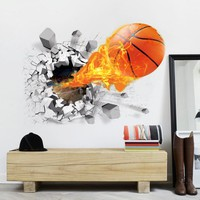 3D Lifelike Basketball Wall Stickers Basketball Decoration
