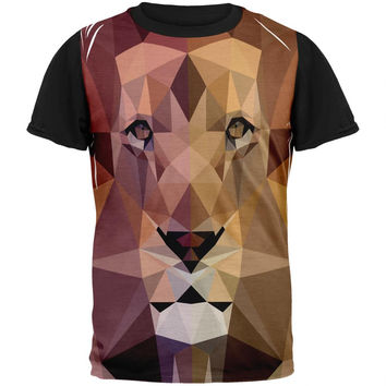 Low-Poly Lion Adult Black Back T-Shirt