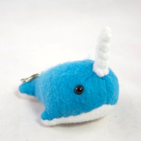 Narwhal Keychain Plush - Bright Blue
