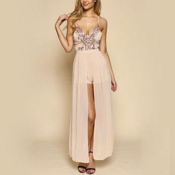 life of the party rose gold sequin maxi romper