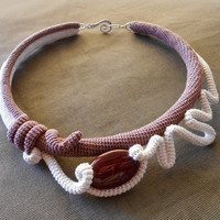 Statement Crochet Choker Off White and Brown