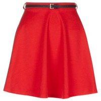 New Look Mobile | Red Jersey Belted Skater Skirt