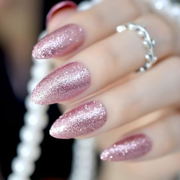 Gorgeous Rose Gold Almond Stiletto Fake Nails Pointed Bling Glitter Press on False Nails Full Cover Daily Office Wear Tips