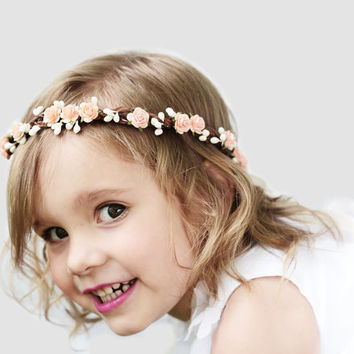 Peach Rose Flower Girl Crown, Flower Girl Flower Crown, Peach and Ivory,Hair Wreath, Flower Girl Circlet, Pink, Red, Mint, Ready to Ship