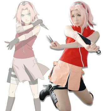Anime Naruto Shippuuden Haruno Sakura Cosplay Costume Sakura 2nd Generation Costumes Full Set ( Top+ Shorts+ Skirt+ Oversleeve )