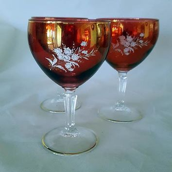 Flashed Cranberry Wine Goblets