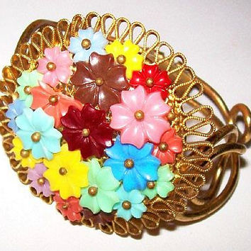 "Flower Bracelet Multi Color Celluloid Pin Wired Clamper Style Gold Metal Miriam HASKELL Style 2"" Vintage"